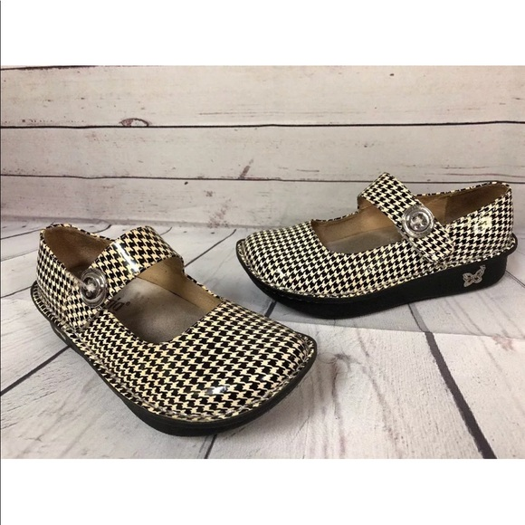 948386761486 Alegria Shoes - Alegria Houndstooth Mark Jane Shoes Patent 36